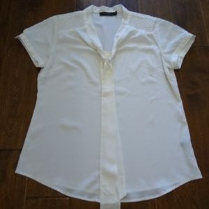 The Limited large white button down pussy bow